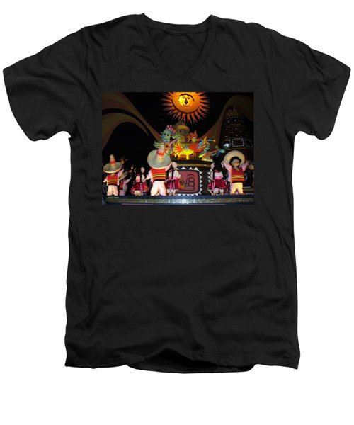 It's A Small World With Dancing Mexican Character Men's V-Neck T-Shirt by Lingfai Leung