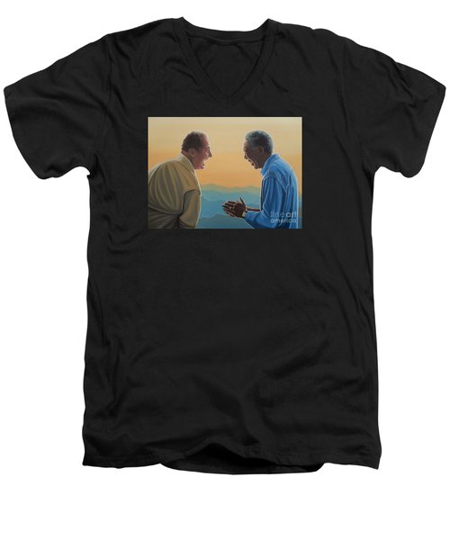 Jack Nicholson And Morgan Freeman Men's V-Neck T-Shirt by Paul Meijering
