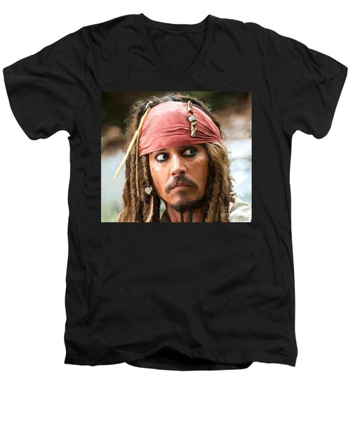 Jack Sparrow Men's V-Neck T-Shirt by Paul Tagliamonte