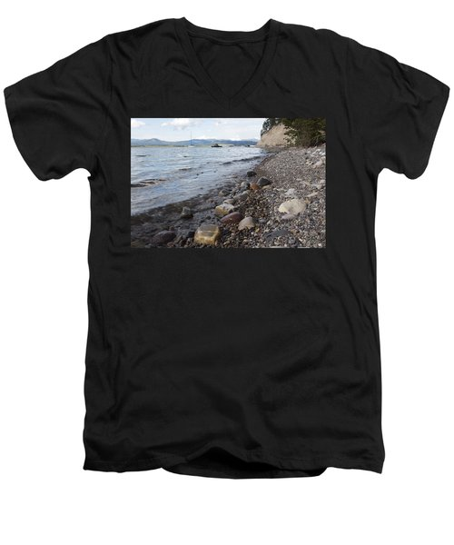 Men's V-Neck T-Shirt featuring the photograph Jackson Lake With Boats by Belinda Greb
