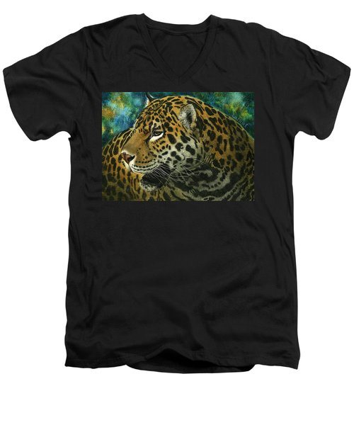 Men's V-Neck T-Shirt featuring the mixed media Jaguar by Sandra LaFaut
