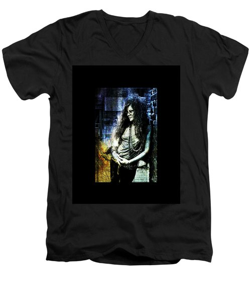 Janis Joplin - Blue Men's V-Neck T-Shirt