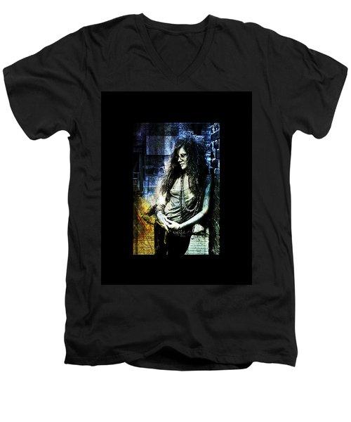 Janis Joplin - Blue Men's V-Neck T-Shirt