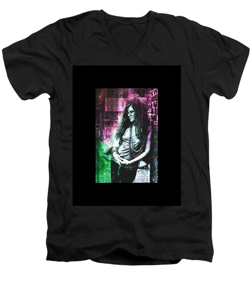 Janis Joplin - Pink Men's V-Neck T-Shirt