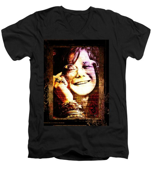 Janis Joplin - Upclose Men's V-Neck T-Shirt