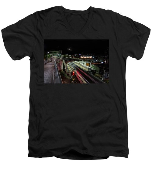 Japan Train Night Men's V-Neck T-Shirt