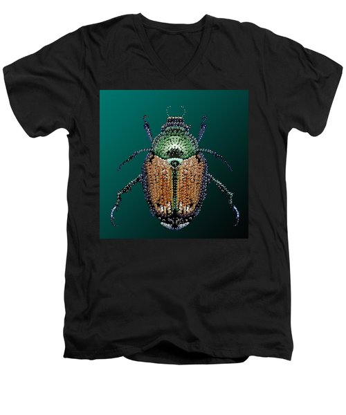 Japanese Beetle Bedazzled II Men's V-Neck T-Shirt