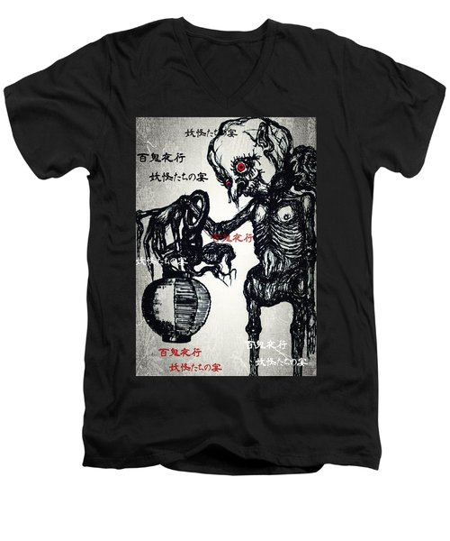 Japanese Creatures Men's V-Neck T-Shirt by Akiko Okabe