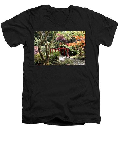 Japanese Garden Bridge With Rhododendrons Men's V-Neck T-Shirt