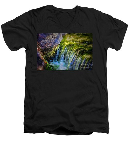 Japanese Garden Waterfall Men's V-Neck T-Shirt
