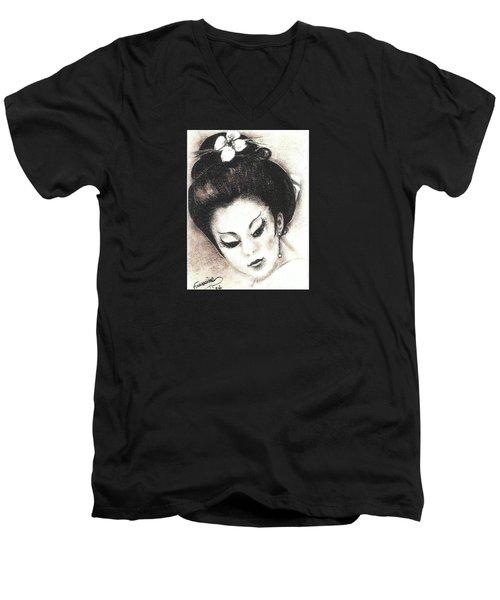 Japanese Girl. Men's V-Neck T-Shirt by Francine Heykoop