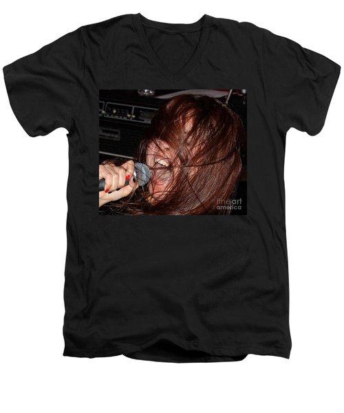 Men's V-Neck T-Shirt featuring the photograph Japanese Intensity by Steven Macanka