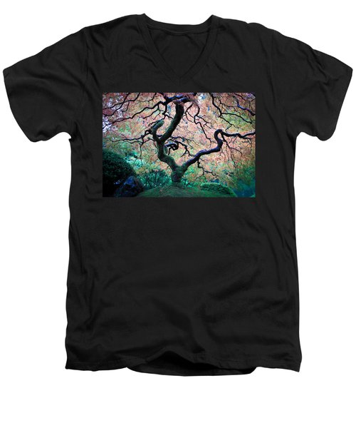 Japanese Maple In Autumn Men's V-Neck T-Shirt by Athena Mckinzie