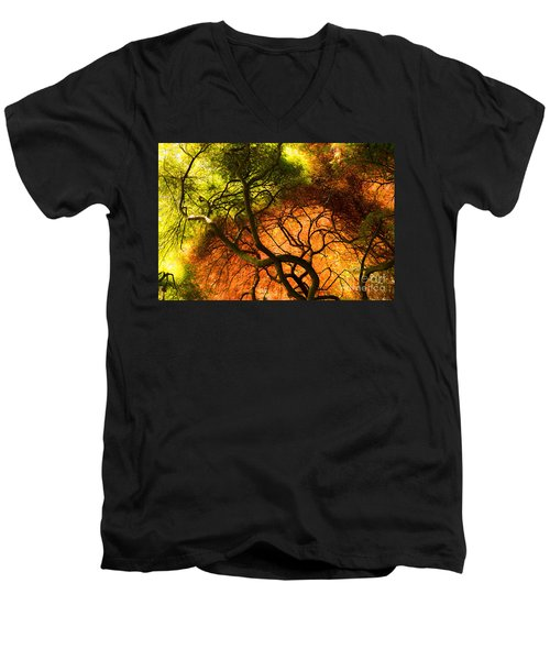 Men's V-Neck T-Shirt featuring the photograph Japanese Maples by Angela DeFrias