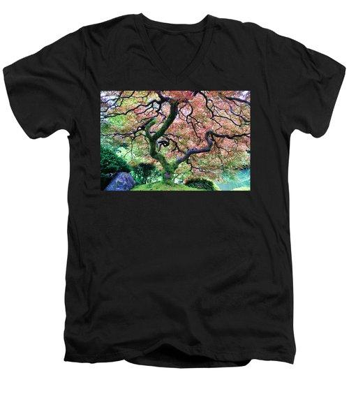 Japanese Tree In Garden Men's V-Neck T-Shirt
