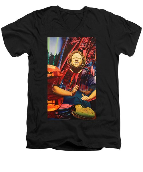 Men's V-Neck T-Shirt featuring the painting Jason Hann At Horning's Hideout by Joshua Morton