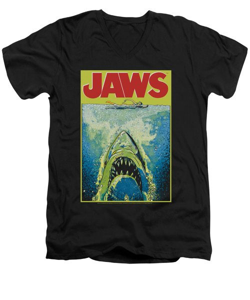 Jaws - Bright Jaws Men's V-Neck T-Shirt by Brand A