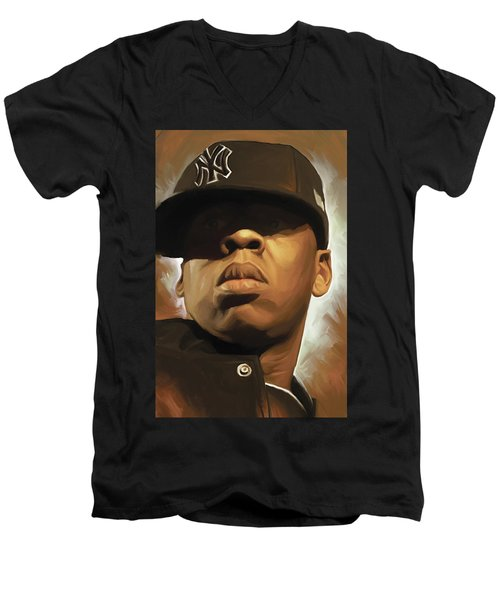 Jay-z Artwork Men's V-Neck T-Shirt by Sheraz A