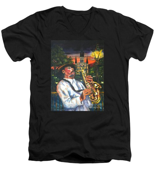 Jazz By Street Lamp Men's V-Neck T-Shirt
