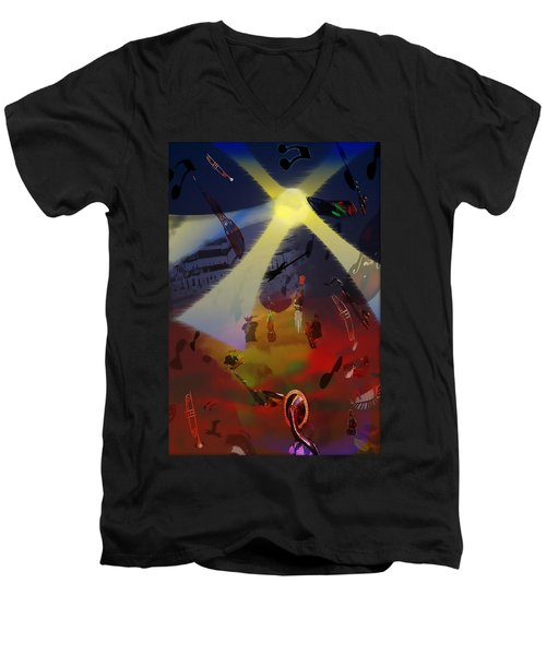 Men's V-Neck T-Shirt featuring the digital art Jazz Fest II by Cathy Anderson