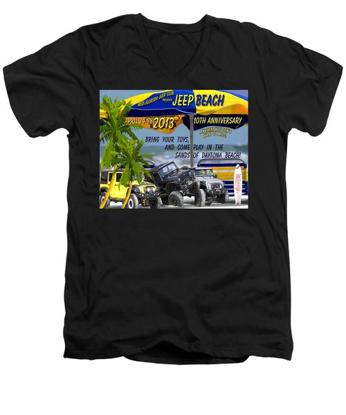 Men's V-Neck T-Shirt featuring the photograph Jeep Beach 2013 Welcomes All Jeepers by DigiArt Diaries by Vicky B Fuller