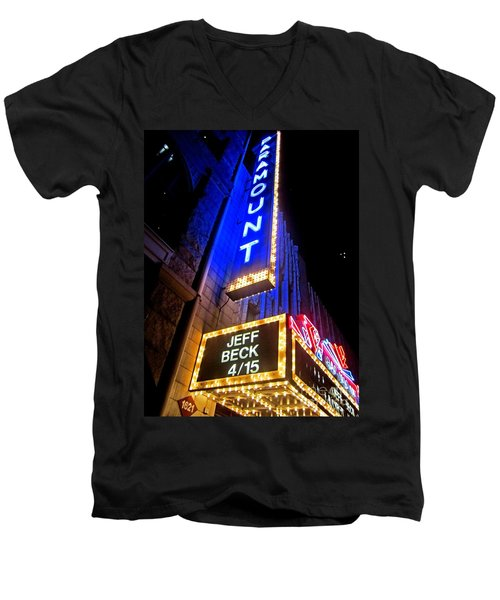 Men's V-Neck T-Shirt featuring the photograph Jeff Beck At The Paramount by Fiona Kennard