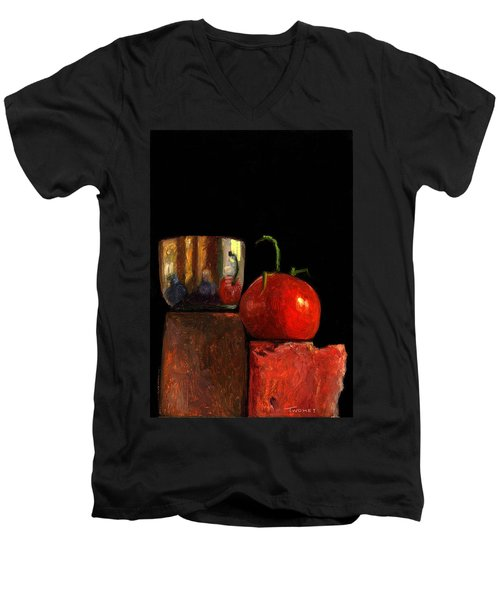 Jefferson Cup With Tomato And Sedona Bricks Men's V-Neck T-Shirt
