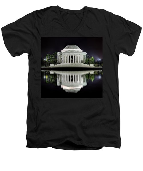 Jefferson Memorial - Night Reflection Men's V-Neck T-Shirt