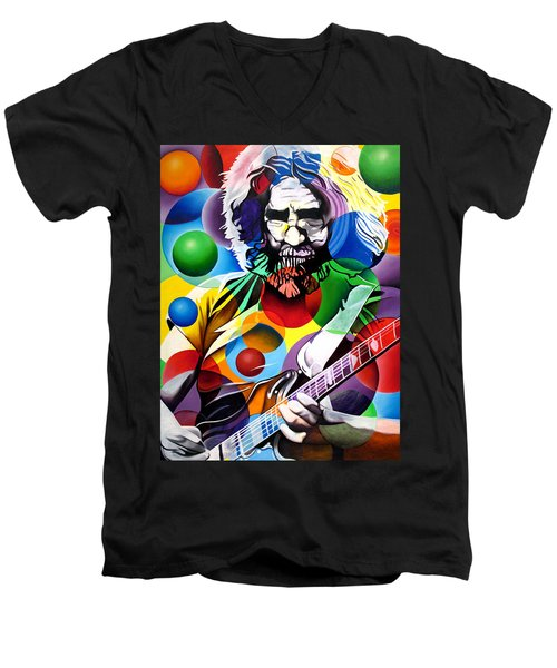 Jerry Garcia In Bubbles Men's V-Neck T-Shirt by Joshua Morton