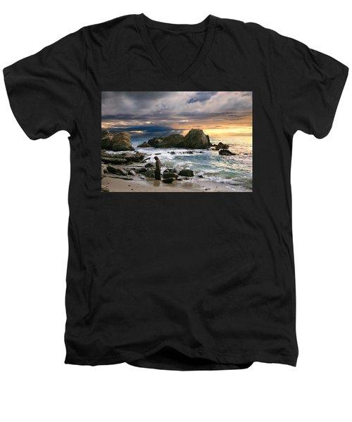 Jesus' Sunset Men's V-Neck T-Shirt