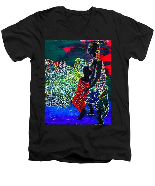 Men's V-Neck T-Shirt featuring the painting Jesus Walking On Water by Gloria Ssali