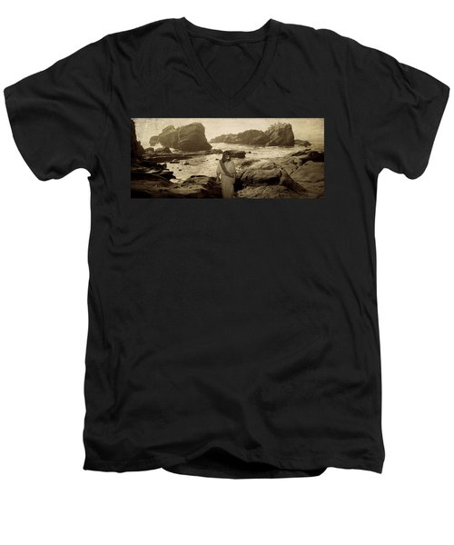 Jesus Walks Among Angels Men's V-Neck T-Shirt
