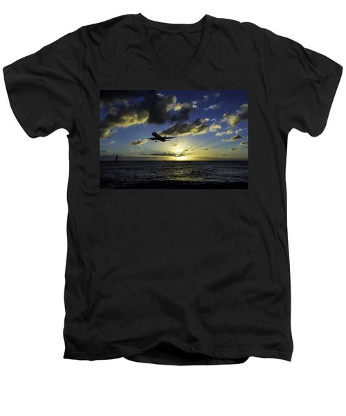 jetBlue landing at St. Maarten Men's V-Neck T-Shirt by David Gleeson