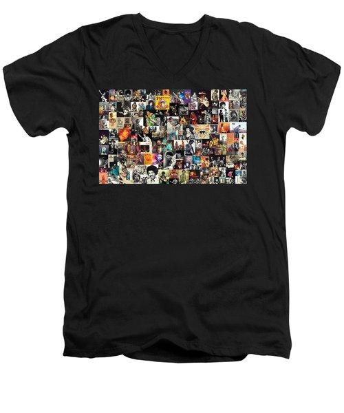 Jimi Hendrix Collage Men's V-Neck T-Shirt