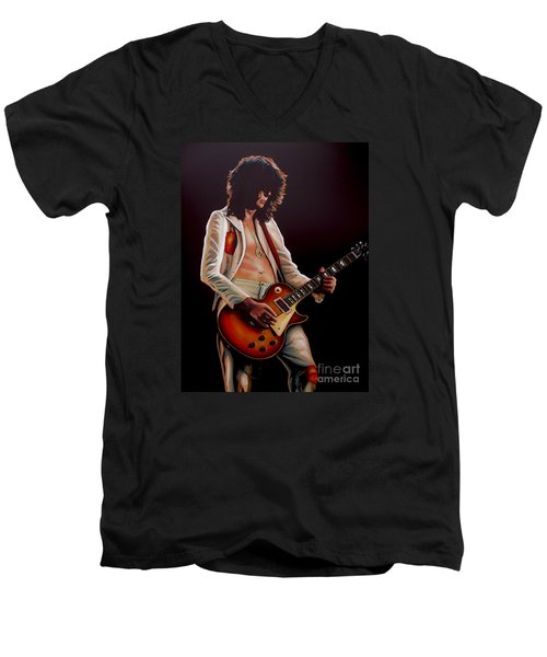 Jimmy Page In Led Zeppelin Painting Men's V-Neck T-Shirt by Paul Meijering
