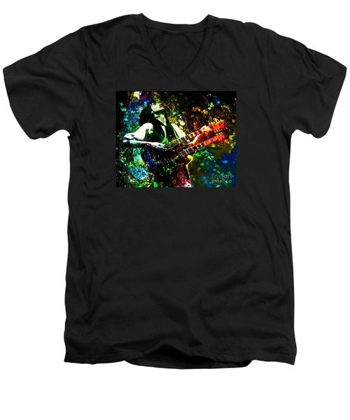 Jimmy Page - Led Zeppelin - Original Painting Print Men's V-Neck T-Shirt by Ryan Rock Artist