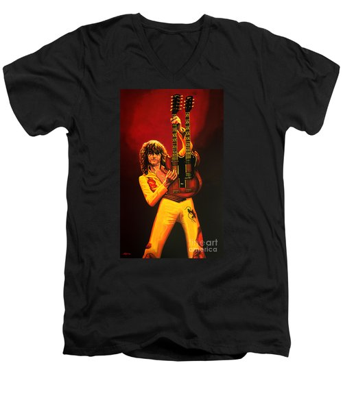 Jimmy Page Painting Men's V-Neck T-Shirt by Paul Meijering