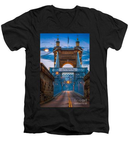 John A. Roebling Suspension Bridge Men's V-Neck T-Shirt