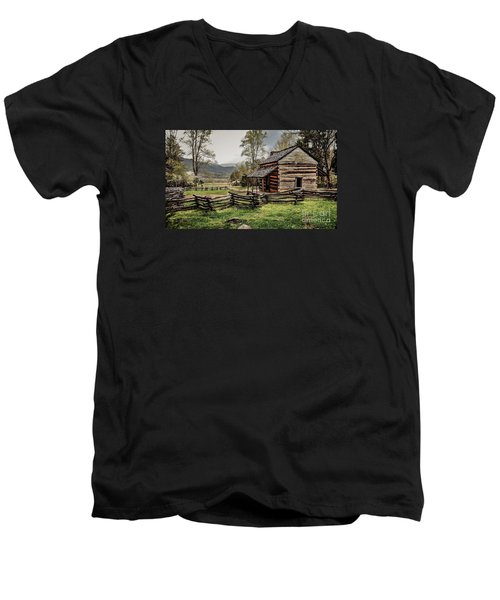 Men's V-Neck T-Shirt featuring the photograph John Oliver's Cabin In Spring. by Debbie Green