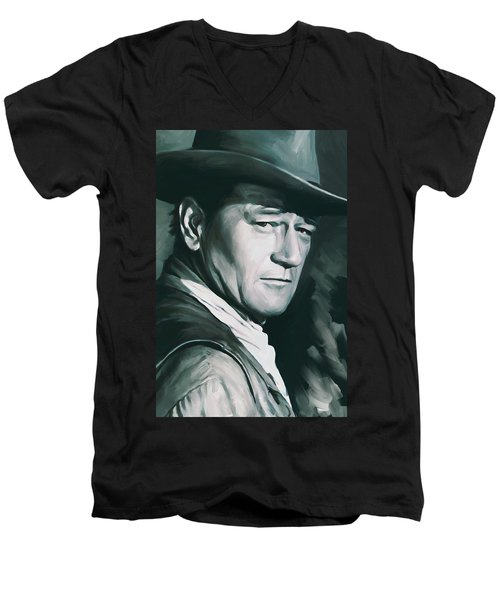 John Wayne Artwork Men's V-Neck T-Shirt