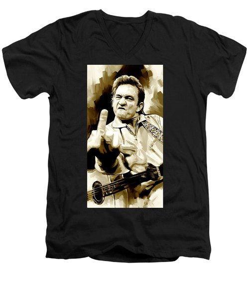 Johnny Cash Artwork 2 Men's V-Neck T-Shirt by Sheraz A