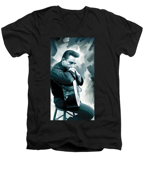 Johnny Cash Artwork 3 Men's V-Neck T-Shirt by Sheraz A