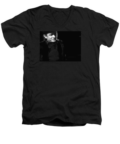 Men's V-Neck T-Shirt featuring the photograph Johnny Cash Film Noir Homage Old Tucson Arizona 1971 by David Lee Guss