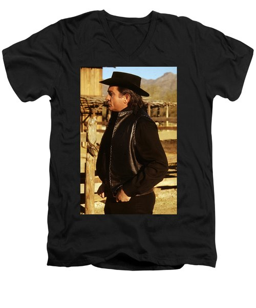 Men's V-Neck T-Shirt featuring the photograph Johnny Cash Golden Gate Peak Old Tucson Arizona 1971 by David Lee Guss