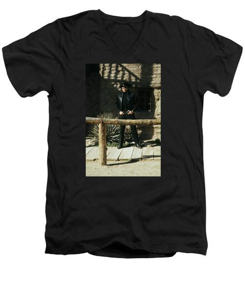 Men's V-Neck T-Shirt featuring the photograph Johnny Cash Gunfighter Hitching Post Old Tucson Arizona 1971 by David Lee Guss