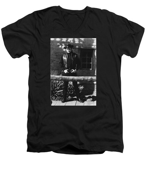 Men's V-Neck T-Shirt featuring the photograph Johnny Cash Gunslinger Hitching Post Old Tucson Arizona 1971  by David Lee Guss