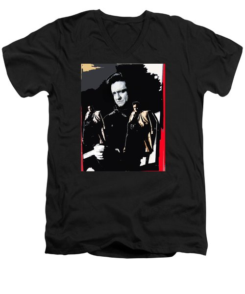 Men's V-Neck T-Shirt featuring the photograph Johnny Cash Multiples  Trench Coat Sitting Collage 1971-2008 by David Lee Guss