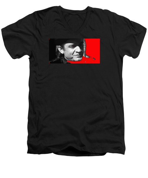 Men's V-Neck T-Shirt featuring the photograph Johnny Cash Music Homage Ring Of Fire Old Tucson Arizona 1971 by David Lee Guss