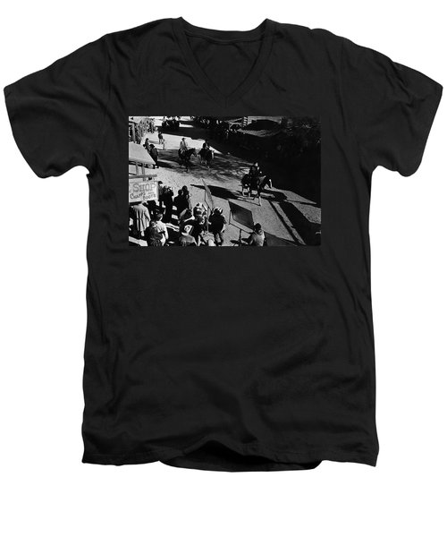 Men's V-Neck T-Shirt featuring the photograph Johnny Cash Riding Horse Filming Promo Main Street Old Tucson Arizona 1971 by David Lee Guss