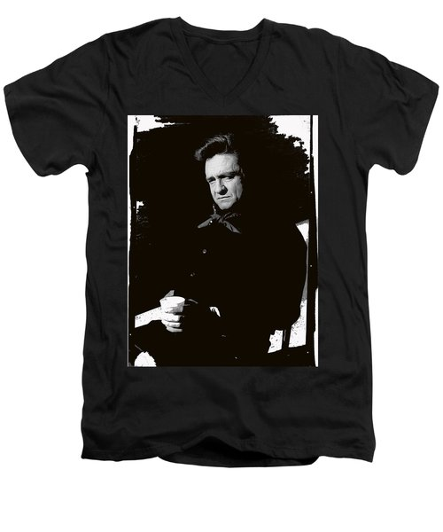 Men's V-Neck T-Shirt featuring the photograph Johnny Cash Sitting With Cup  Old Tucson Arizona 1971-2009 by David Lee Guss